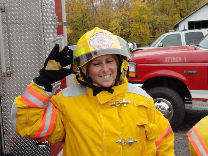 Firefighter posing