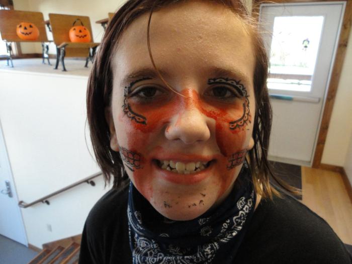 In makeup for Halloween