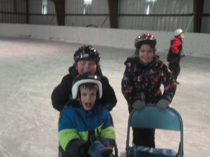 Playing on the ice rink