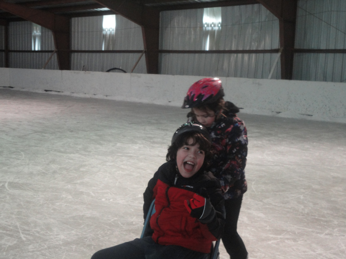 Playing on an ice rink