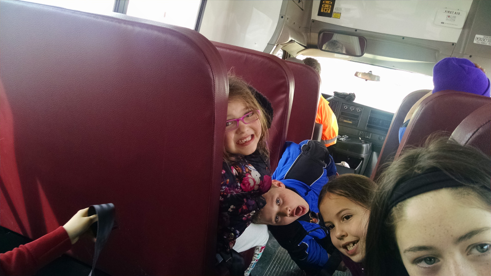 Group photo on the bus