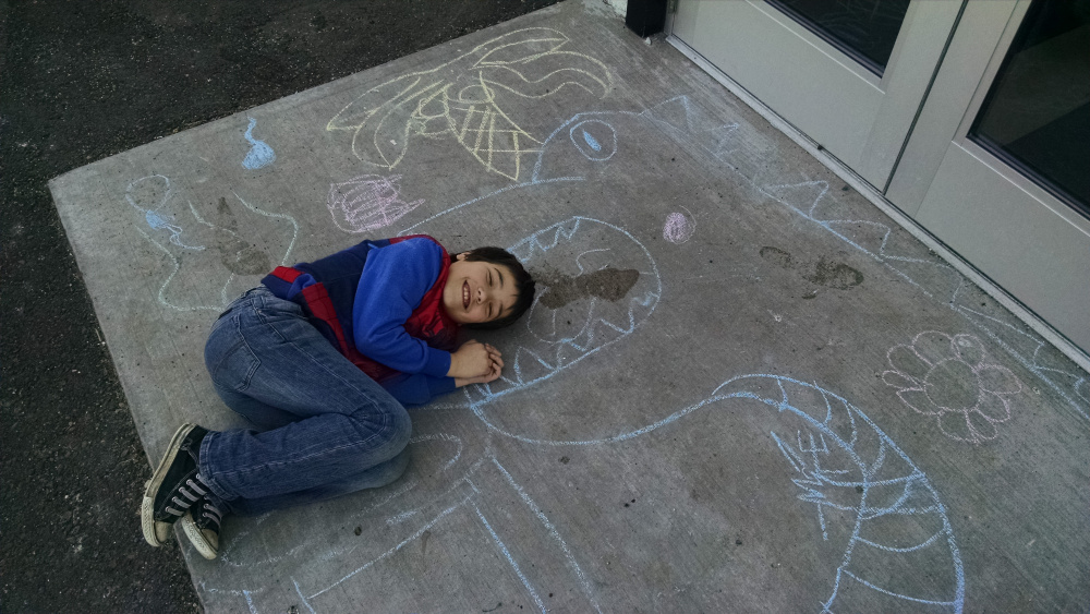 Posing with some chalk drawings