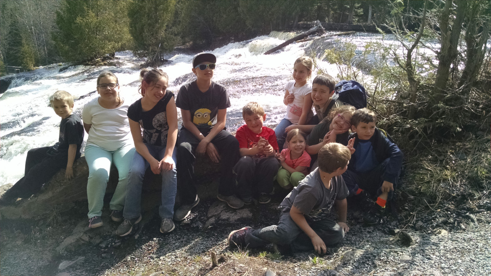 Group photo at the falls